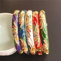 Colour Chinese Ethnic Big Bangles For Women Rhinestone Cloisonne Enamel Bangle Bracelet Fashion Jewelry birthday Gift