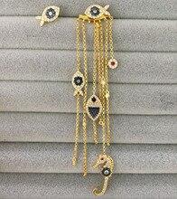 UMGODLY pendientes asimétricos de lujo para mujer, Color amarillo, oro para ojos, borla de pez de la suerte, joyas de Mónaco