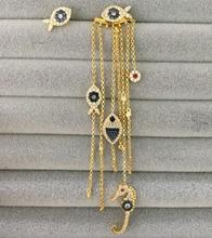 UMGODLY יוקרה מותג אסימטרית צהוב זהב צבע עין מזל דגים טאסל עגילי נשים אופנה מונקו תכשיטים