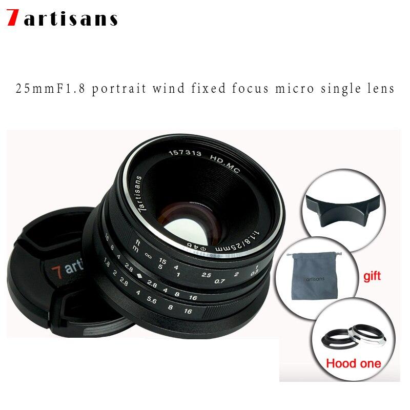7 artesãos 25mm f1.8 lente prime para todas as séries únicas para e montagem canon EOS-M mout micro 4/3 câmeras a7 a7ii a7r frete grátis