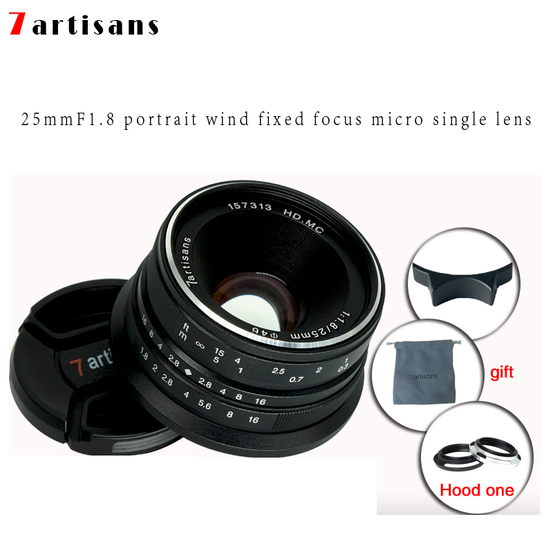7artisans 25mm f1.8 Prime Lens to All Single Series for E Mount Canon EOS-M Mout Micro 4/3 Cameras A7 A7II A7R Free Shipping image