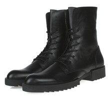 2017 марка черные мужские ботинки натуральная кожа военные сапоги мужские зимние ботинки новых людей мотоциклов сапоги бесплатная доставка
