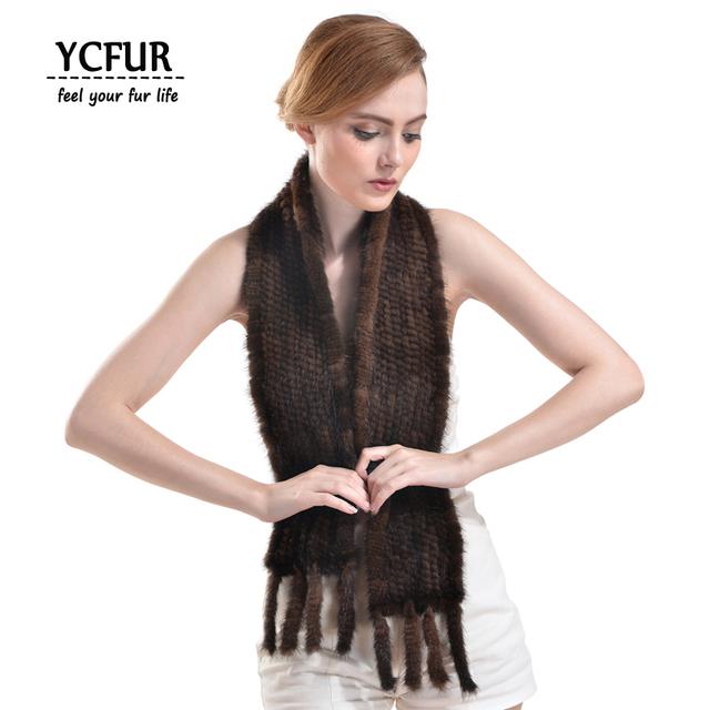 YCFUR Moda Mujeres Abrigos De Piel de Invierno 2016 de Punto de piel de Visón Auténtico Bufandas Con Flecos Bufandas De Visón Natural Femenina YSC112