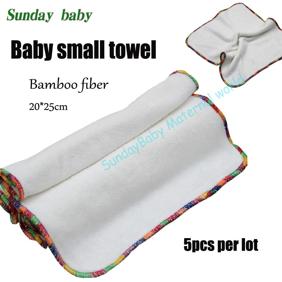 5pcs a lot Baby cloth bamboo fiber small towel washable and super soft baby bamboo square wipes reusable