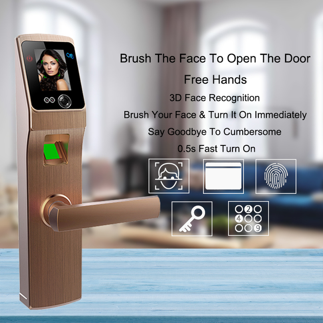 Biometric Fingerprint Door Lock Safe Face Digital Security Electronic Door Lock For Home Anti-theft Smart Lock Door Touch Screen
