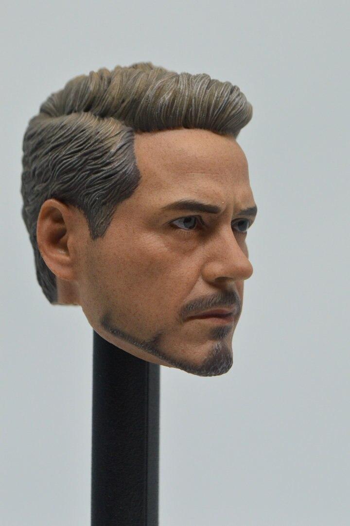"1//6 Scale Avengers 3 Iron Man Tony Stark Head Sculpt Head Model F 12/"" Figure A"