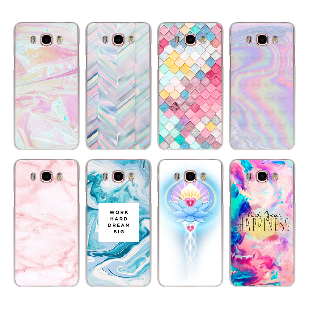 Color Pink And Aqua Marble Hard Clear Phone Case For