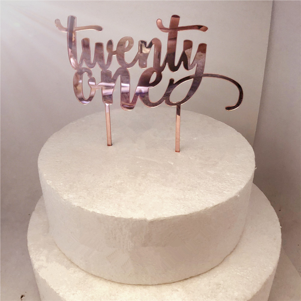 Magnificent Rose Gold Twenty One 21St Birthday Cake Decoration Accessory Funny Birthday Cards Online Overcheapnameinfo