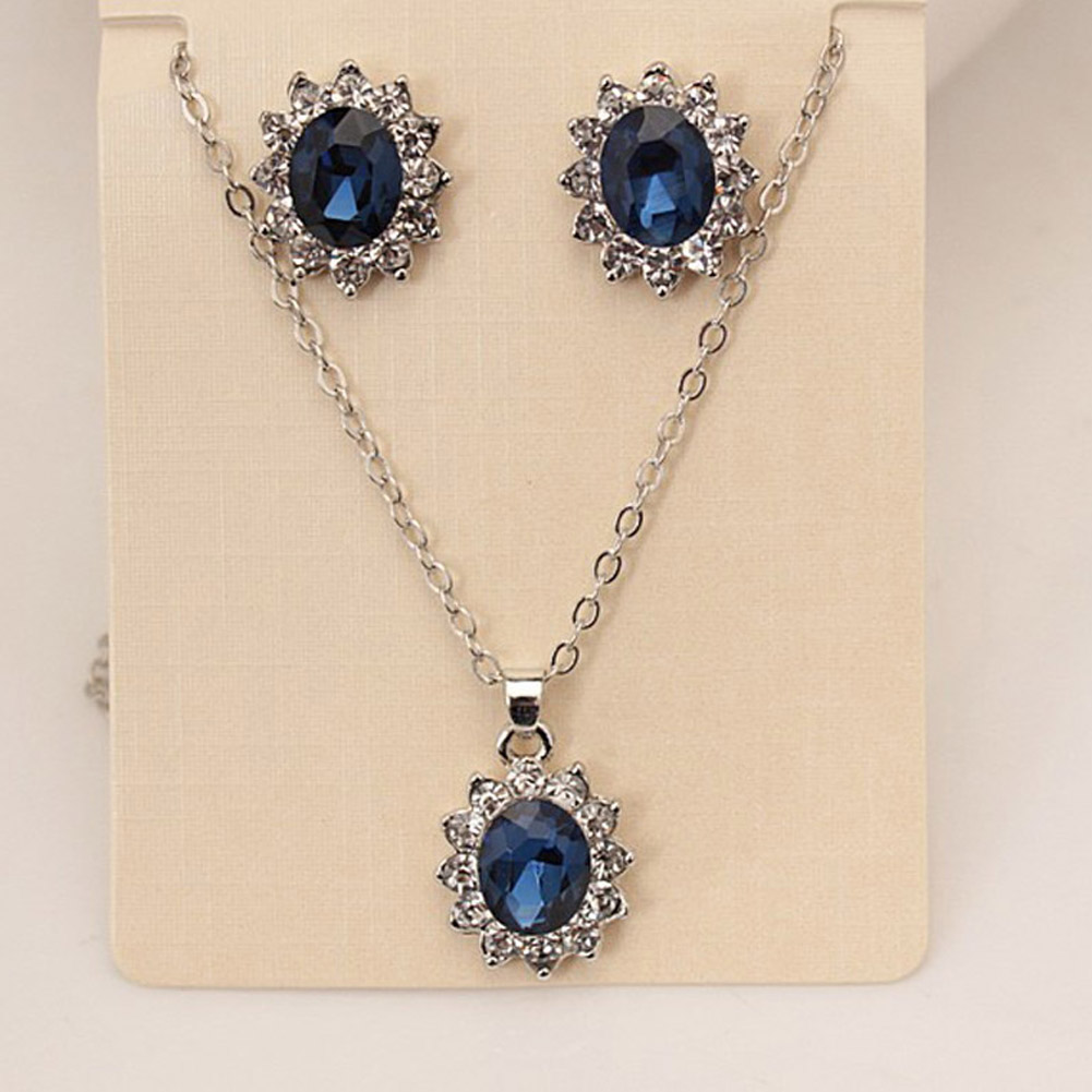 Blue Crystal Jewelry Set Earrings / Pendant Necklace Bridal