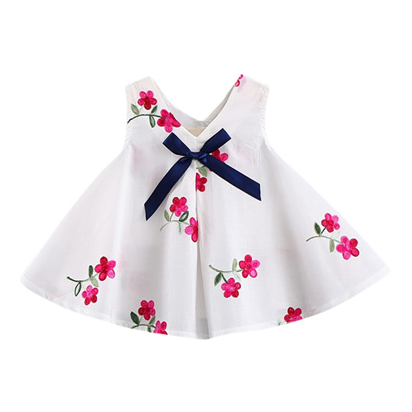 2018 Summer New Baby Girls Dresses Floral Strawberry Embroidery Sleeveless Kids Clothing Children clothes P5