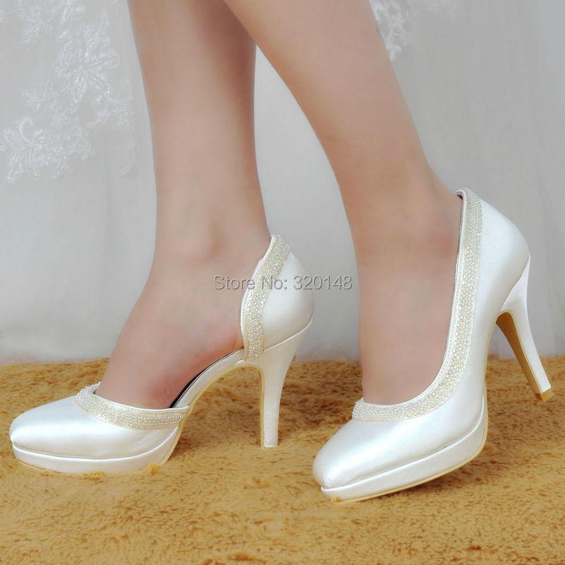 ФОТО Woman High Heel White Red Close Toe Platform Pearls Bridesmaids Pumps Satin Lady Evening Party Wedding Bridal Shoes EL-005C-PF