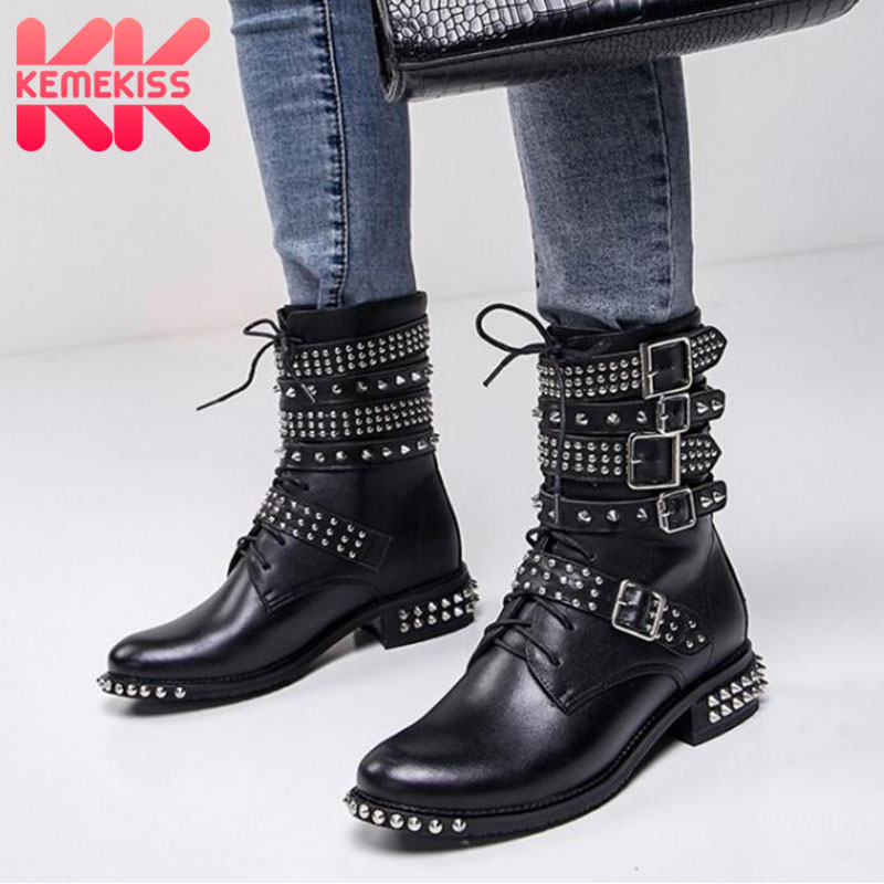 KemeKiss Brand Women High Heels Boots Rivet Lace Up Motorcycle Shoes Women Design Mid Calf Boots Fashion Shoes Size 34-39 trendy women s mid calf boots with lace up and rhinestones design