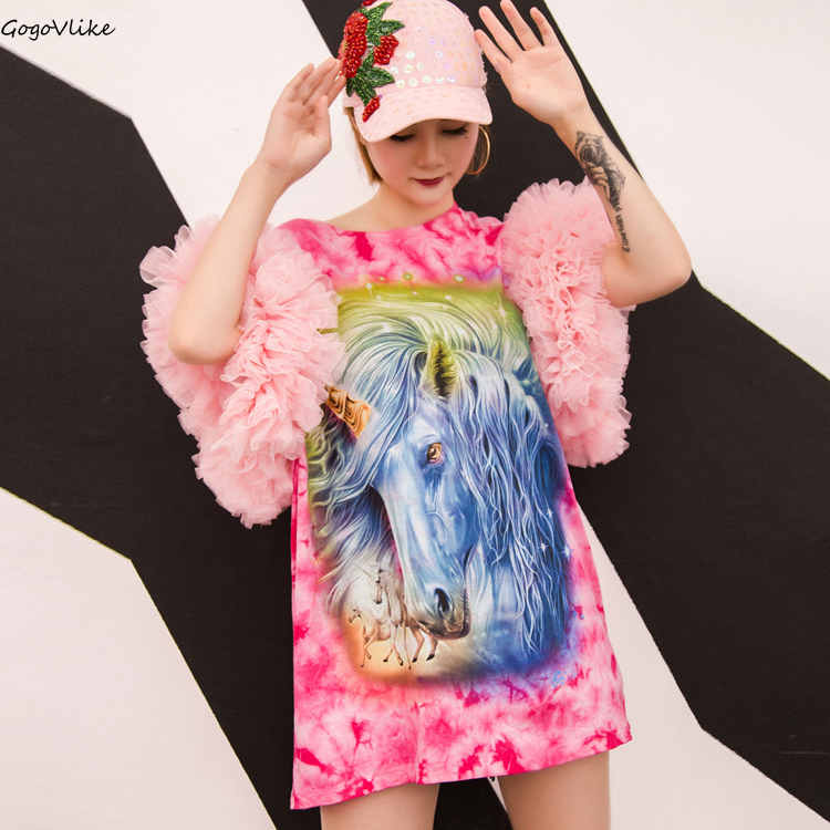 Femmes T Shirt maille manches t shirt femmes surdimensionné Top Tee rouge cravate teinture doux ulzzang cheval imprimé Punk vêtements grande taille LT318S30