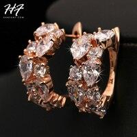 E690 lujo pendiente cristales rosa joyas de color de oro hecho con auténtico cristal austríaco al por mayor