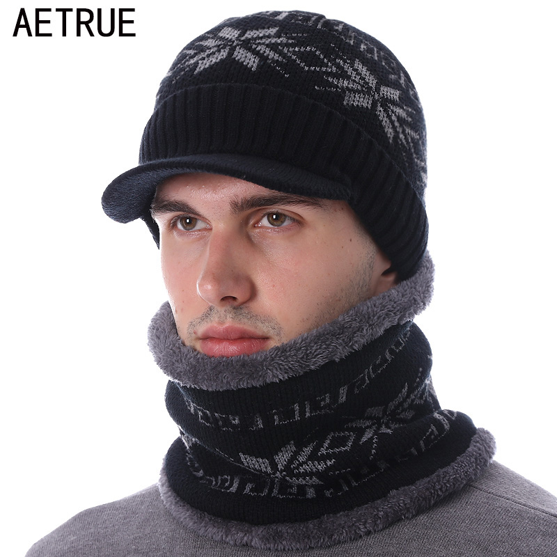 AETRUE Skullies Beanies Men Knitted Hat Scarf Winter Hats For Women Male Caps Gorras Bonnet Mask Warm Sport Cheap Beanie Hats