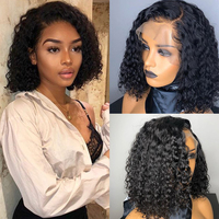 Deep Curly Short Bob Wigs 13x6 Lace Front Human Hair Wigs For Women 150% Brazilian Glueless Lace Frontal Wig Dolago Full Black