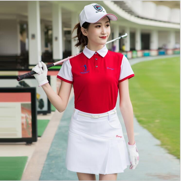 Été femme golf vêtements couture couleur à manches courtes t-shirt femmes respirant et séchage rapide chemise de golf coréen sportswear