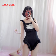 Kawaii Maid Cat Japanese School Swimsuit Cosplay Sukumizu Sexy Cute Women Girl Slim Fit Falbala Swimwear With Cat Tail Black Red(China)