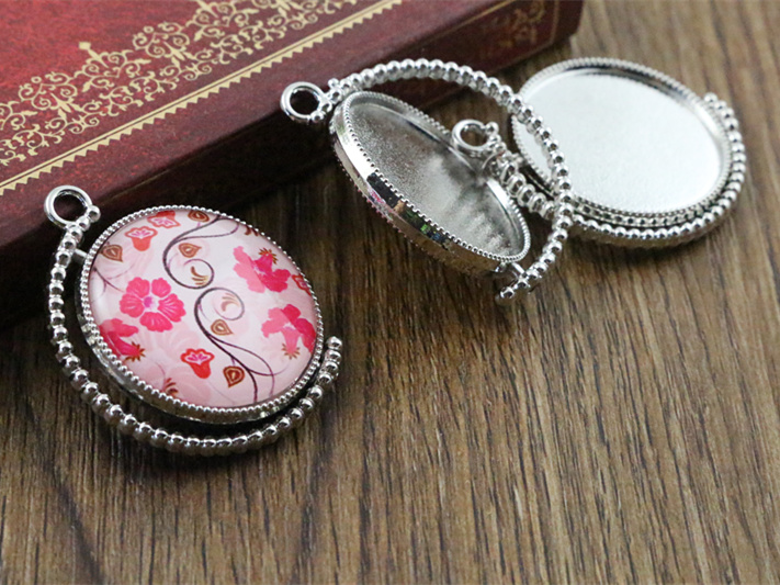 5pcs 25mm Inner Size Rotation Double Side Rhodium Color Cameo Cabochon Base Setting Charms New Fashion Pendant (A3-65)