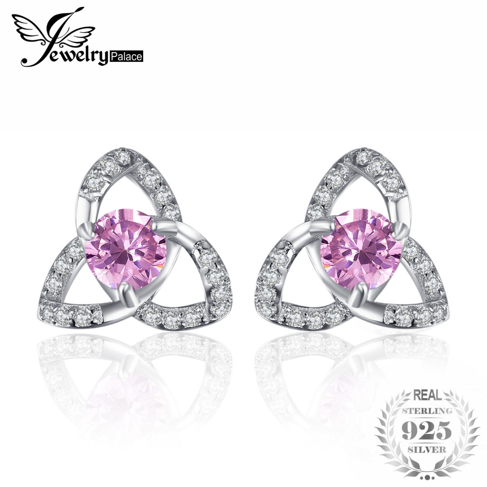 JewelryPalace Trinity Knot 3 Petal 0.9ct Created Pink Sapphire Stud Earrings 925 Sterling Silver For Women As GiftsJewelryPalace Trinity Knot 3 Petal 0.9ct Created Pink Sapphire Stud Earrings 925 Sterling Silver For Women As Gifts