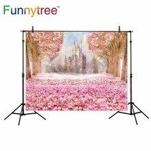Backdrop para estúdio fotográfico castelo rainbow cherry blossoms Funnytree sonho menina photo booth fundo photobooth prop