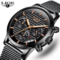 LIGE Watch Men's Top Brand Luxury Business Stainless Steel Mesh Belt Men's Watch Fashion Sports Chronograph Quartz Clock Watch M