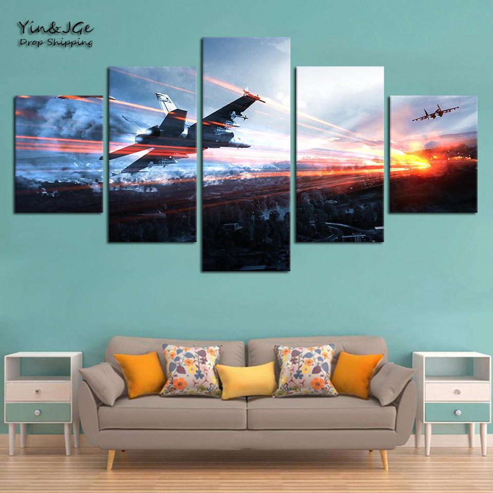 Home Decor Living Room Frame Artworks 5 Pieces Canvas Painting Game Battlefield HD Prints Abstract Poster Picture Decor Wall Art