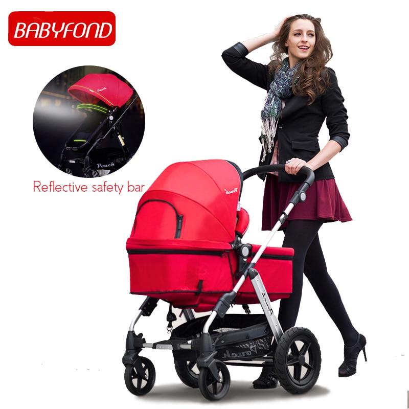 2019 poche bébé poussette Europe 2 en 1 poussette de luxe mode bébé landau quatre roues léger pliant antichoc landau