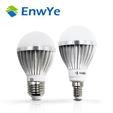 EnwYe 6PCS E14 E27 LED lamp IC 3W 5W 7W 9W 12W 15W 2835 LED Lights Led Bulb bulb light lighting high brighness Silver metal(China)