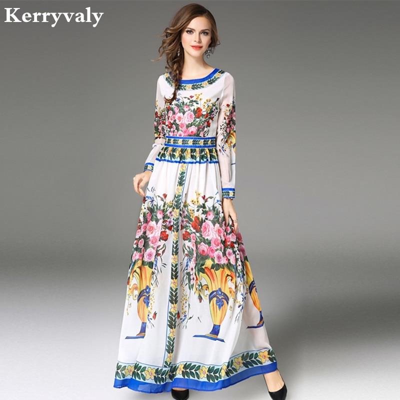 High-end Print Floral Chiffon Maxi Dress Vestido Longo 2018 Robe Longue Women Big Pendulum Long Dress Ropa Mujer K943888