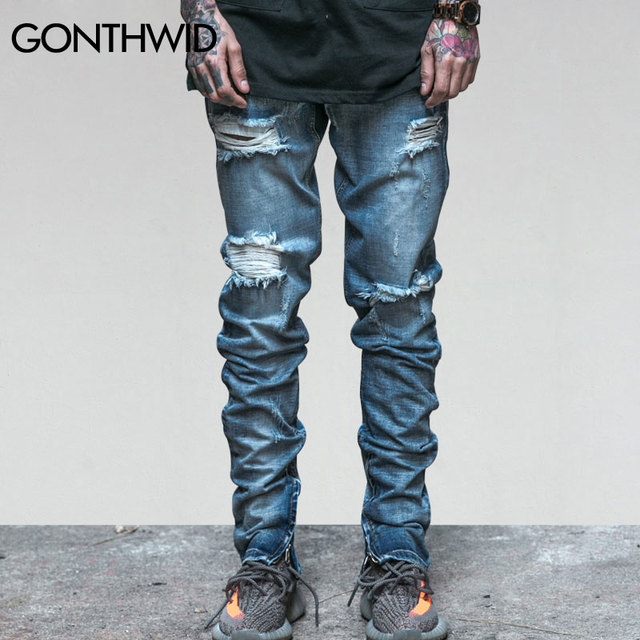 d2316bde5479 GONTHWID Mens Ripped Ankle Zipper Jeans Men's Knee Holes Jeans Male Summer  Vintage Distressed Skinny Slim Fit Blue Denim Pants