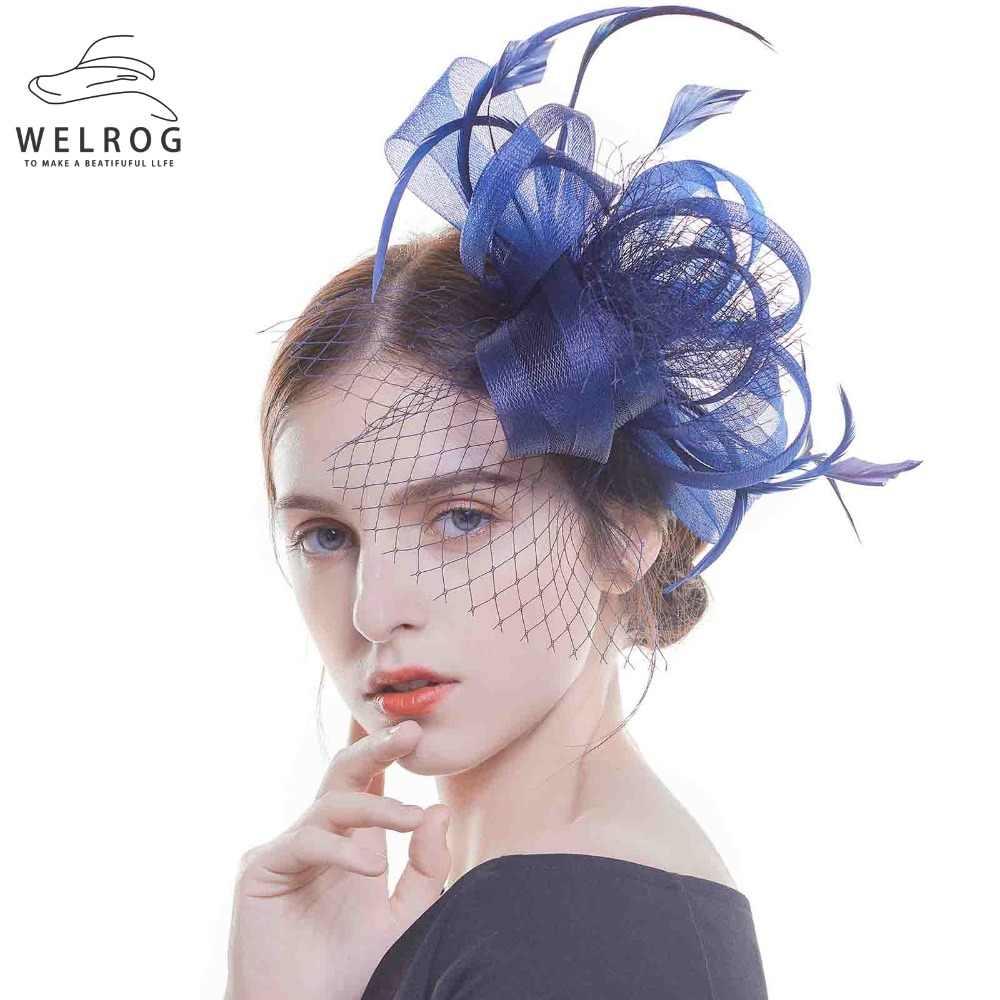 ec334b08 WELROG 2019 Ladies Derby Hats Party Feather Hat BLack Roya Blue Elegant  Vintage Women Mesh Fascinator