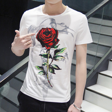 Fashion 2016 men's clothing T-shirt short-sleeve shirt wild personality print pattern white short t
