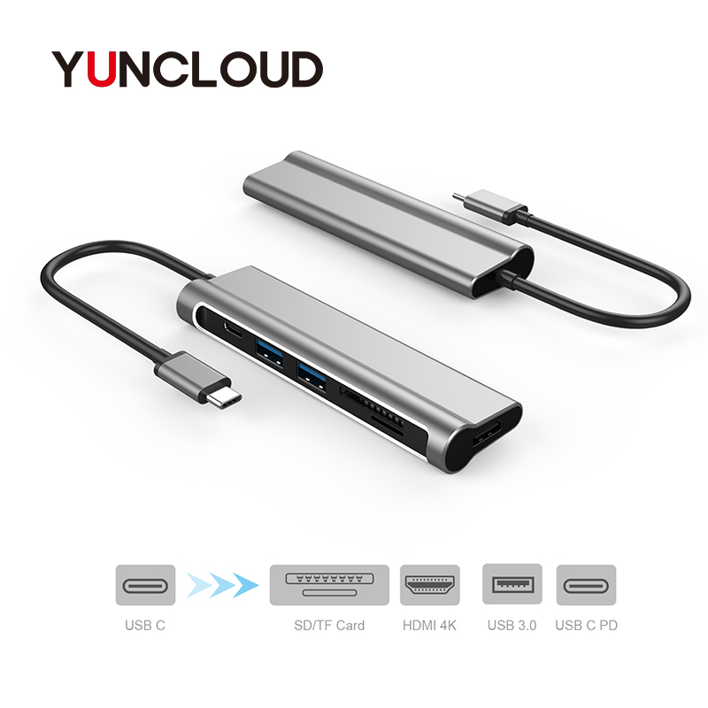 YUNCLOUD USB HUB USB C to HDMI 4K Type-C PD Charging SD/TF Card Reader USB 3.0 For MacBook Samsung S9/S8 Type C 3.1 USB Splitter 7 in 1 usb c type c hub to hdmi sd tf card reader usb 3 0 rj45 pd charging adapter for macbook samsung galaxy usb c hub