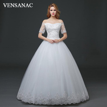 VENSANAC 2018 Sequined Boat Neck Ball Gown Lace Appliques Wedding Dresses Illusion Short Sleeve Backless Bridal Gowns lori магниты из гипса союзмультфильм малыш и карлсон мф 003