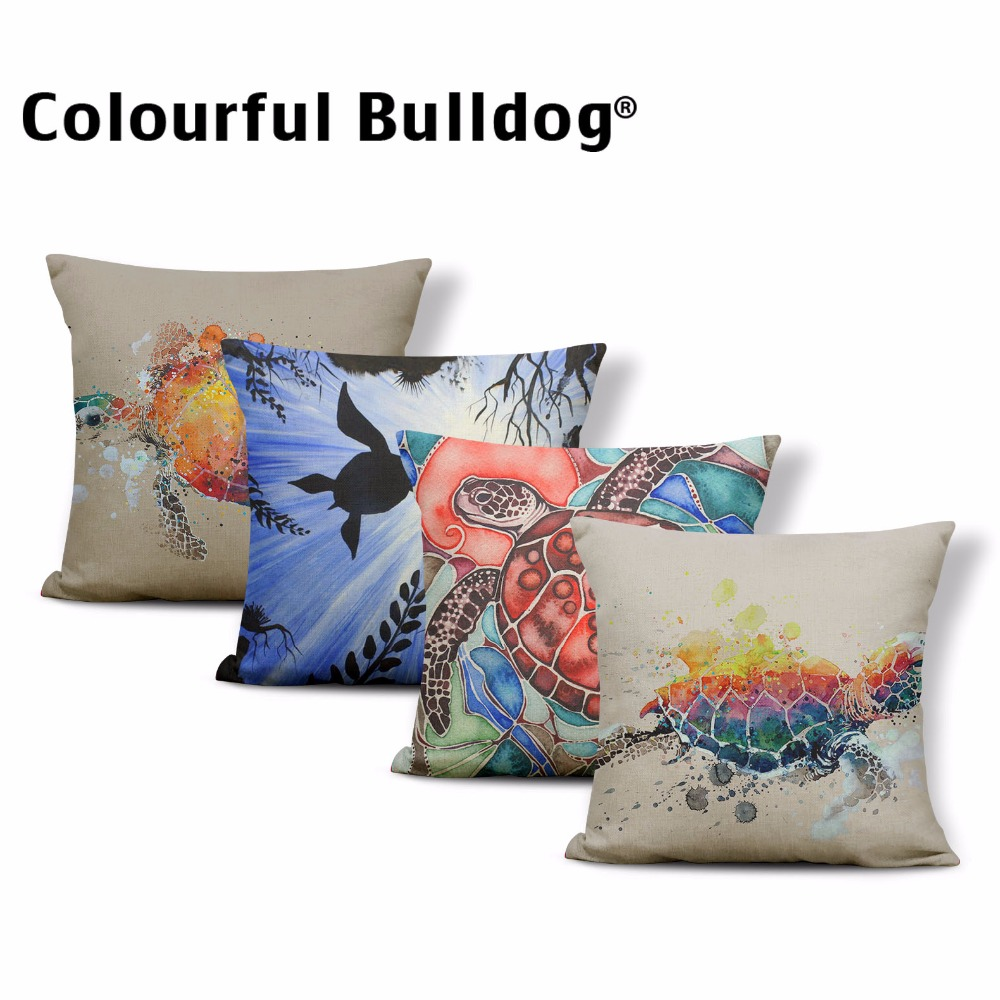 Ocean Style Pillow Covers Conch Sea Turtle Cushion Cases Shell Starfish Narwhal Seaweed Throw Pillow Fish Whale Stamp Sofa Decor