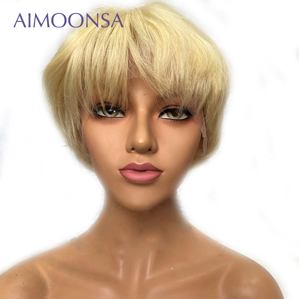 613 Lace Front Human Hair Wigs Straight Short Bob Wigs 150% Density Honey Blonde Transparent Lace Wigs  Remy For Women Black