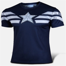 NEW 2016 Marvel Captain America 2 Super Hero lycra compression tights new T shirt Men fitness clothing short sleeves XS-4XL