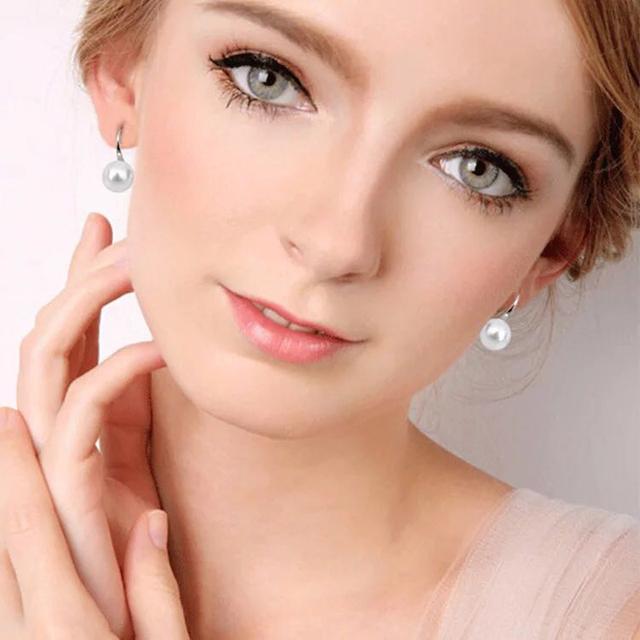White Pink Purple 8-9mm Natural Freshwater Pearl Clip Earrings For Women Fashion 925 Silver Wedding Earrings Jewelry