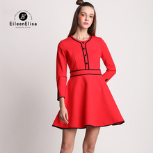Mini Dress Red Autumn Casual Women 2017 Fashion Brand High Quality Dresses