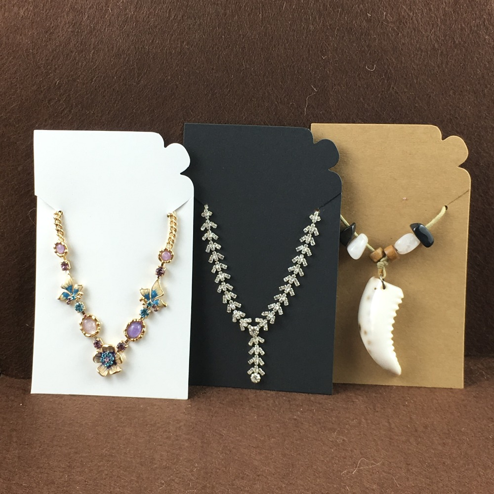 100pcs Kraft Blank Pendant Card Paper Necklace Earring Cards Jewelry Displays Packaging Custom Logo Cost Extra In