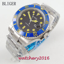 40mm Bliger black Dial ceramic bezel Date Adjust Yellow Markers Sapphire Glass Automatic Movement Men's Watch