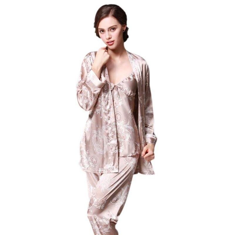 Women Autumn 3 Pcs Robe Sexy Ladies Sleep Lounge Dragon Print Night Shirt Pants   Pajama     Sets