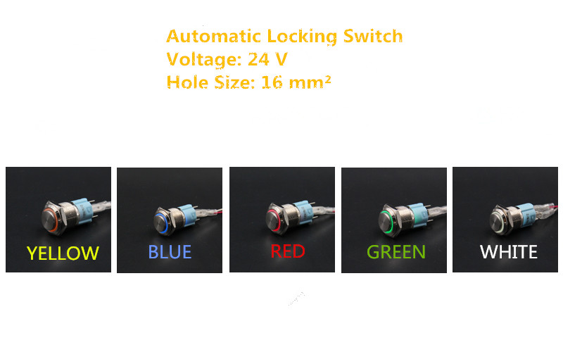 1PCS YT1072  16 mm Metal Push Button Switch Automatic Locking Switch With 5 Colors LED  24V     Convexity