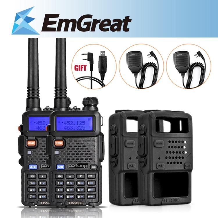 2 Units/Lot Baofeng UV-5R Portable Walkie <font><b>Talkie</b></font> UHF/VHF FM Function + Rubber Case Cover+Speaker Mic + USB Program Cable (Gift)