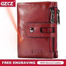 GZCZ Genuine Leather Women Short Style Wallet 2018 New Design Vintage Purse Hasp Walet Zipper Purses Card Holder High Quality(China)