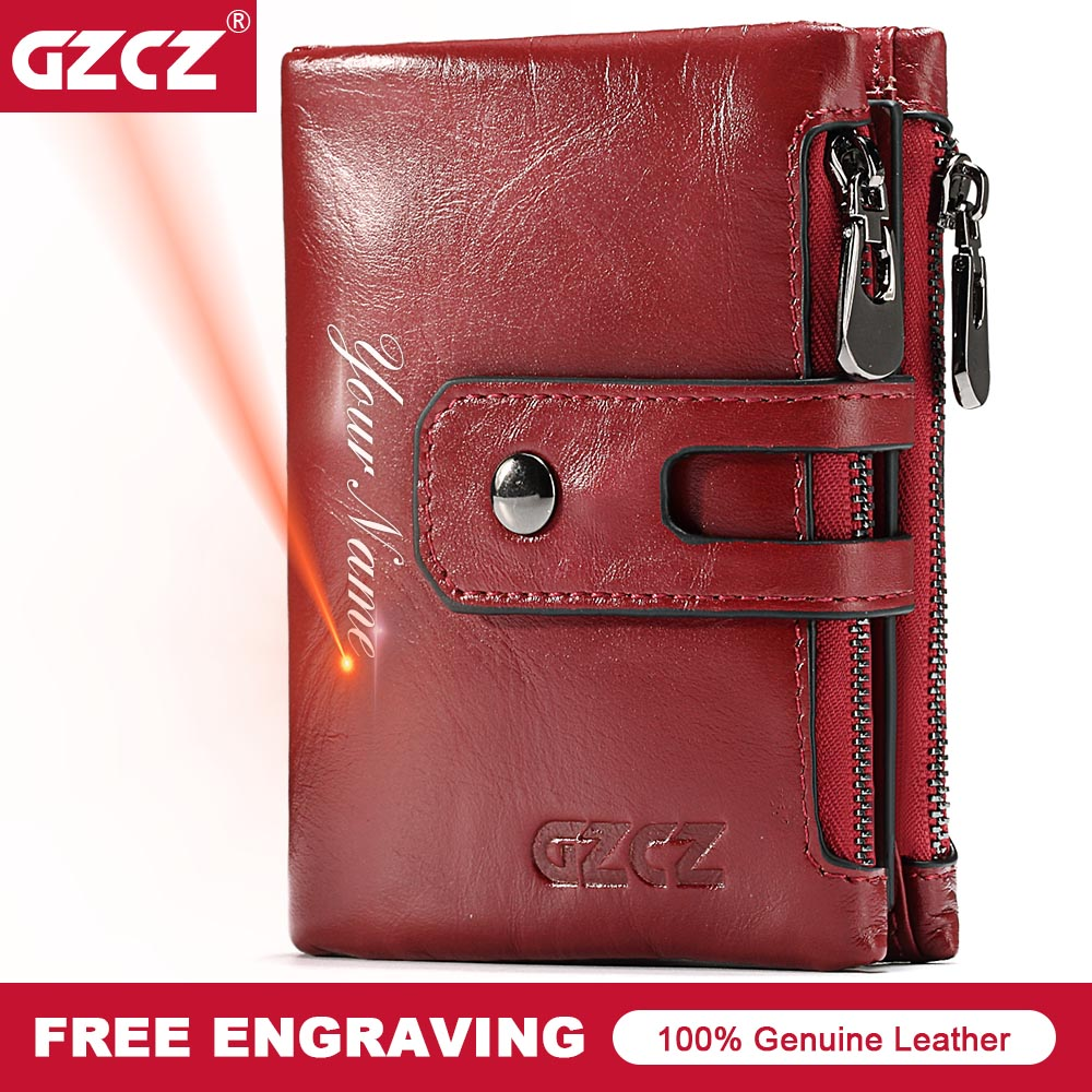GZCZ Genuine Leather Women Short Style Wallet 2018 New Design Vintage Purse Hasp Walet Zipper Purses Card Holder High Quality ...