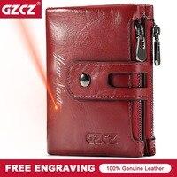 GZCZ Genuine Leather Women Short Style Wallet 2018 New Design Vintage Purse Hasp Walet Zipper Purses