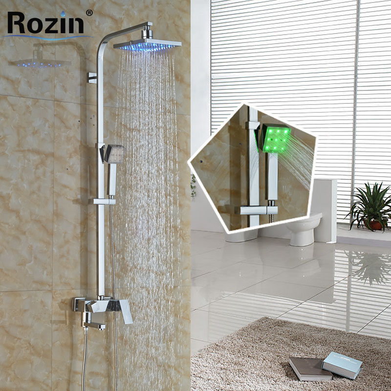 Modern Wall Mounted 8  Chrome Shower Faucet Column Set Single Handle LED Light Rain Shower Head and Handshower wall mounted adjust sliding bar rain hotel shower faucet single lever 10 rain shower head ultra thins style handshower