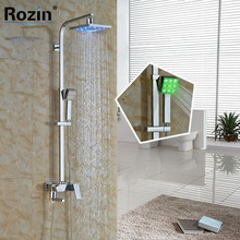 Modern Wall Mounted 8″  Chrome Shower Faucet Column Set Single Handle LED Light Rain Shower Head and Handshower